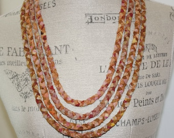 Four Strand Braided Fabric Necklace Autumn Colors Eco Friendly