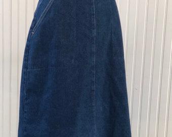 80s 1970s Wrangler denim wrap skirt