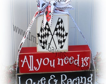 Race Fans Wood Blocks All You Need Is Love & Racing