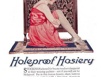 1920's Hosiery Advertisement Illustrator Coles Phillips Holeproof Hosiery Original Ad
