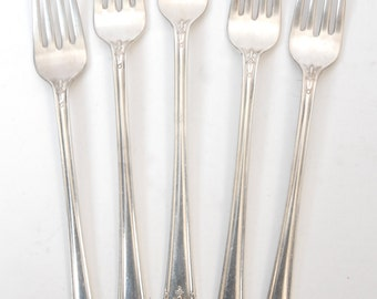 """Her Majesty 1847 Rogers Grille Forks Set of 5 Silverplate Art Nouveau 1930s 7 3/4"""""""