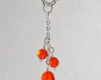"Beautiful Hyacinth Swarovski Crystal Necklace 18"" silver plated chain"