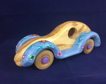 Beetle Bug Car Wooden Handmade Toy with Retro Style Flower Power for Children, Toddlers, Baby Shower, or Nursery Room Decor #160627