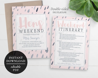 Printable Hens Weekend Invitation | Editable PDF | Bachelorette Weekend | Hens Party | Hens Weekend Itinerary Invitation | Pink and Navy