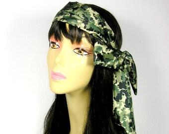 Camouflage Bandana Hair Scarf Camo Hair Scarf Camo Neck Scarf Long Skinny Scarf Camouflage Scarves Military Hair Scarf Hair Scarves