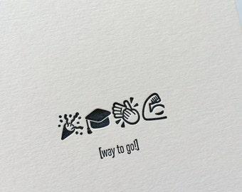 Emojicards: Way To Go! (Grad), single letterpress card