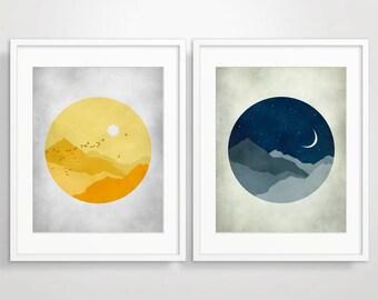 Wall Art Set of 2 Prints, Mid Century Modern Art, Art Print Set, Mid Century Art, Wall Art Bedroom, Sun and Moon, Art Prints Modern