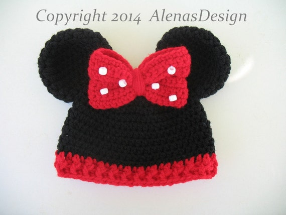 Crochet Pattern 098 Baby Minnie Mouse Hat Mickey Mouse