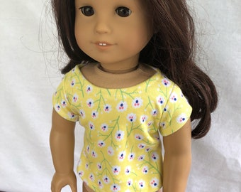 "Yellow Doll Tops - Doll Clothes - 18"" Doll Shirts -  Knit Doll Tops - Doll Shirts - My Life Doll Tops - 18"" Dolls - Journey Dolls - Doll Top"