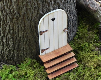 Fairy Door with Key, fairy garden miniature accessories, hand crafted  wood cloud white with brown hinges handmade stairs