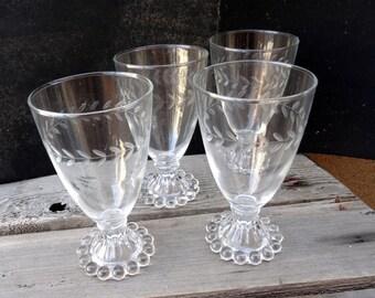 4 Vintage Anchor Hocking Boopie, Berwick Dessert, Water Glasses, Wine Glasses, Etched Glass