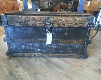 Antique industrial strongbox