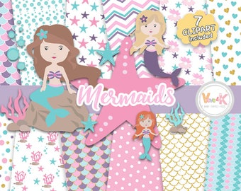 Mermaids Clipart and Papers Pack, Mermaids Clipart, Under the Sea Graphics, Ocean Graphics, Mermaid Baby Shower, Mermaid Background Papers