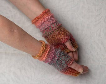 multicolor fingerless gloves knit arm warmers boho accessories gift for her knitted gloves mittens pink lilac