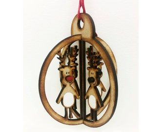 Handmade Reindeer 3D Bauble Christmas Tree Decoration Gift Laser Cut