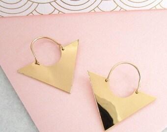Sale Triangle Earrings - Geometric Earrings, Gold Triangle Earrings, Dangle Earrings, Minimalist Earrings, Minimalist Jewellery, Gifts for h