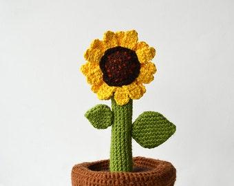 Sunflower in Pot Crochet Pattern, Flower in Pot Crochet Pattern, Plant Crochet Pattern, DIY Crochet Sunflower, DIY Crochet Plant Pattern