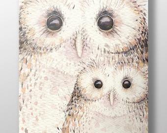 Owl Family Art Print~Watercolor Owls~Baby Owl ~Kid's Room Decor~Nursery Decor~Gift for Her~Gift for Teen~Bird Art Print~Owl Feathers