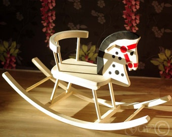 Wooden Handmade Rocking Horse, Children Rocking Horse, Handmade Children Toys, Classic Rocking Horse