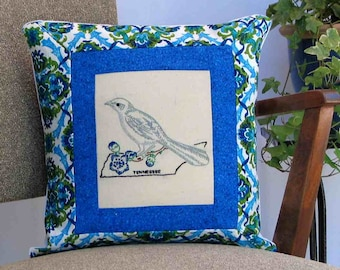 Tennessee mockingbird pillow, cottage, farmhouse decor with vintage hand embroidery -- a keepsake gift. Includes pillow form.