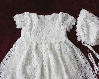 Baby Girls Baptism Dress, Christening gown, Lace baby girl's baptism gown, White church dress, Lace baby girl dress, Baptism Dress (3-6m)