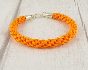 Eilidh (Orange cord kumihimo bracelet w/ silver plate findings | Hand Braided Bracelet | Japanese Braided Bracelet