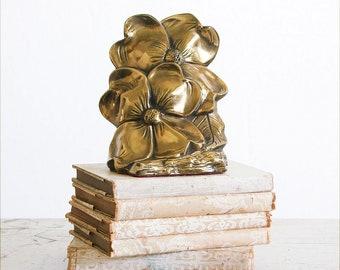 1960's Vintage Brass Bookends / Hollywood Regency Decor / Floral Bookends