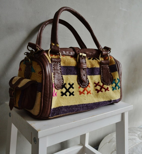 Trendy Winter Finds Berber Design Kilim Leather Satchel Cross Shoulder Straps Berber style-bag, tote, handbag, purse, gifts, Ramadan, Eid