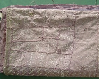 Light purple color old condition hand embroidery chikan kari mirror work home wall decor hanging tapestry from india