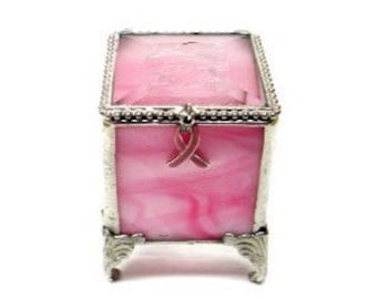 "Pink, Breast Cancer Awareness, Stained Glass Jewelry Box, Keepsake Box - 2x2x2.75"" Tall"