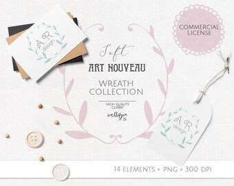 Flower wreath clipart, clip art pictures, Art Nouveau clip art images, stock illustration, clipart images, stock clipart, flower clipart