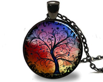 Tree of Life Necklace, Tree of Life Pendant, Tree of Life Jewelry, Tree of Life Charm, Tree of Life Woodland Pendant black(PD0534)