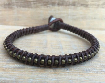 Men's Bracelet, Men's Jewelry, Men's Leather Bracelet, Manly Jewelry, Rugged Bracelet, Men's Brown Bracelet, Groomsmen Gifts, Gifts for Dad
