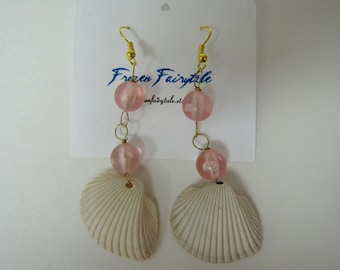 Pink and Gold Hand Wired Vintage Bead Shell Earrings