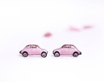 Retro car earrings , Pink car earrings , Retro lover gift , Vintage car earrings , Retro jewelry , Pink earrings , Car jewelry, Retro studs