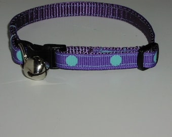 Cat or Kitten Collar - Purple with Large Aqua Dots