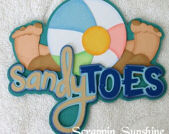 SANDY TOES Die Cut Title - Beach Vacation Scrapbook Page Paper Piece - SSFF