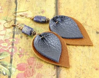 Leather Earrings-Blue Metallic with Rich Brown-Drop Dangle Earrings-Joanna Gaines Earrings