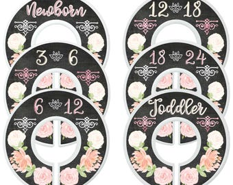 Baby Closet Dividers Closet Organizers Girl Floral Closet Dividers Chalkboard Nursery Custom Closet Dividers Kids Clothes Dividers