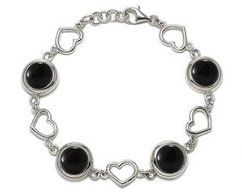 Black Onyx Bracelet, 925 Sterling Silver. , color black, weight 20.6g, #46819