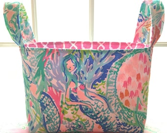 Lilly Pulitzer Fabric Storage Bin - Mermaid Cove (preppy, basket, organizer, holiday, lily pulitzer, tote, decor, mermaid, nursery, decor)