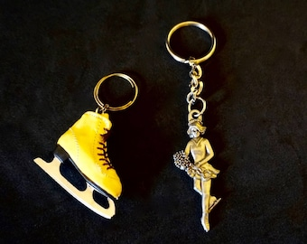 """Skate Ketchains; Set of Two; Seagull Pewter 1992 and Vinyl Lace-Up Skate; Approx. 5.5"""" and 2.5""""; Very Nice !!!"""