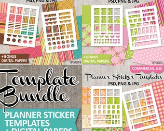 Template Planner Sticker commercial use, / Blank Erin Condren Life Planner template download / kit bundle / planning stickers printable