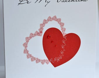 Lovely Personalised Handmade Hearts, Be My Valentine, Card.