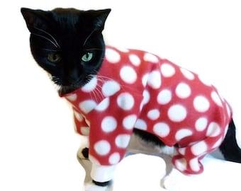 Red Polka dot Fleece Cat Pajamas-Fleece Cat Pajamas--Winter Cat Clothes-Cat Pjs-Pajamas for Cats-Cat Clothing-Cat Onesie-Clothes for Cats