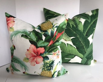 Tommy Bahama Beach and Palms Pillow Cover in Indoor Outdoor Fabric now includes piping