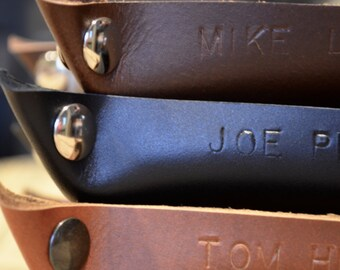 Handcrafted Leather Valet Tray - Choose From Chocolate Brown, Black, or Caramel Leather