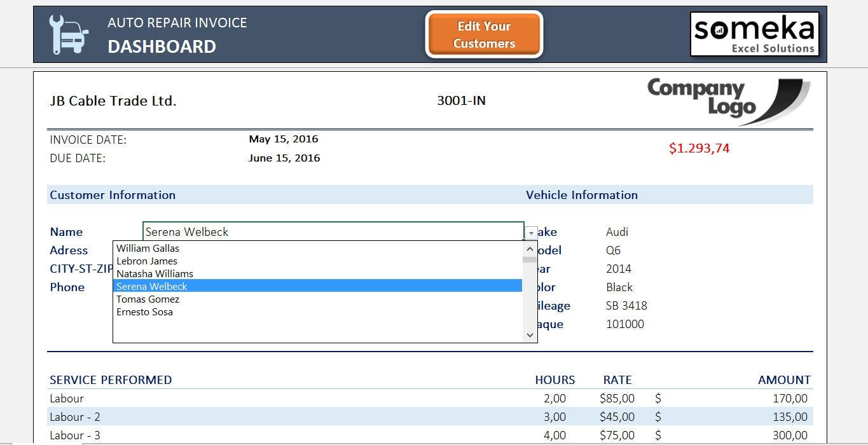Auto Reparaturrechnung druckbare Excel-Vorlage für die