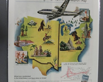 Tra-A  #102   United Airlines      Magazine Ad - April 1949