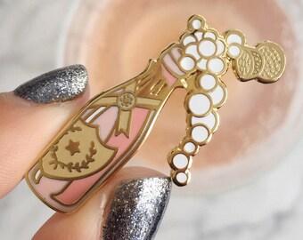 Rose Champagne Pin, Flair – Lapel Pin, Pastel Pink - Blush & Gold Hard Enamel, Bubbly, Wildflower + Co.